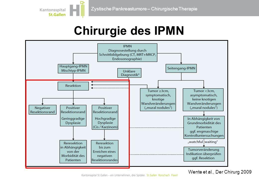 Zystische Pankreastumore – Chirurgische Therapie Chirurgie des IPMN Wente et al., Der Chirurg 2009