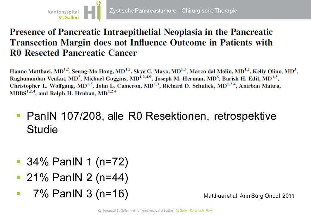 Zystische Pankreastumore – Chirurgische Therapie  PanIN 107/208, alle R0 Resektionen, retrospektive Studie  34% PanIN 1 (n=72)  21% PanIN 2 (n=44)