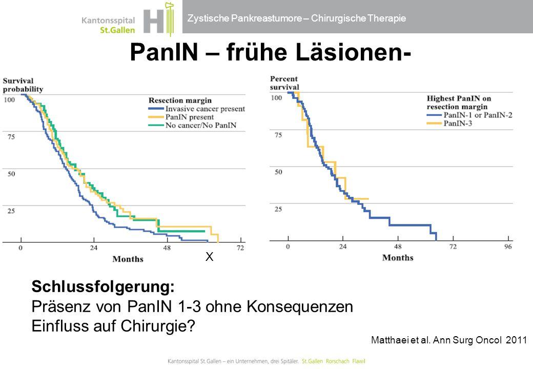 Zystische Pankreastumore – Chirurgische Therapie X Matthaei et al. Ann Surg Oncol 2011 PanIN – frühe Läsionen- Schlussfolgerung: Präsenz von PanIN 1-3