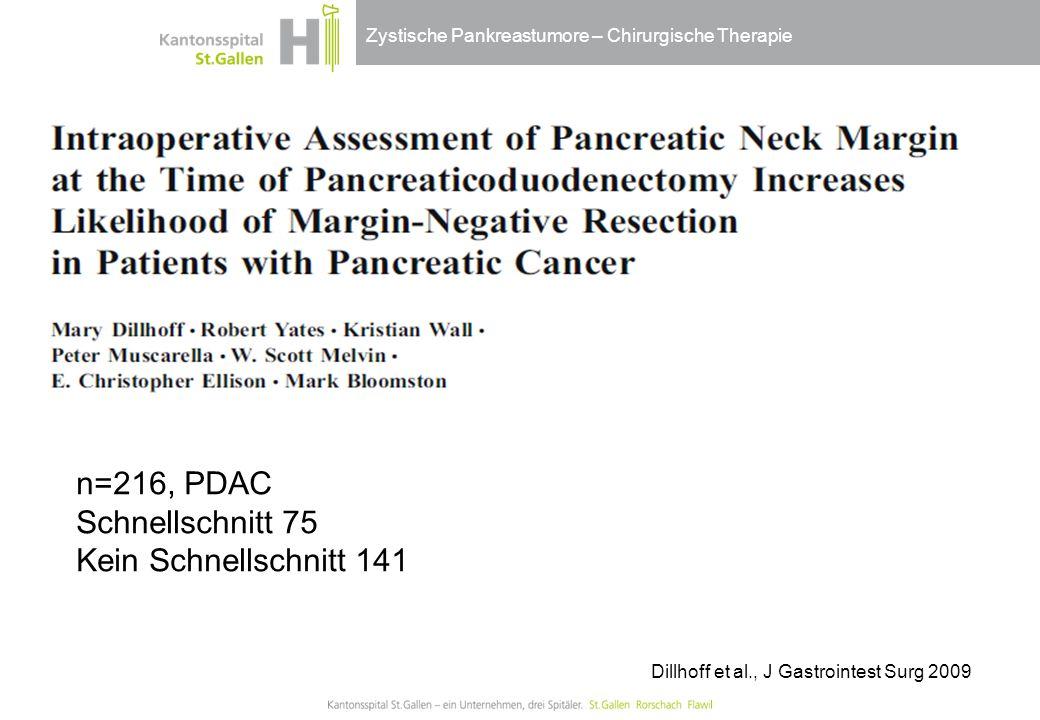 Zystische Pankreastumore – Chirurgische Therapie Dillhoff et al., J Gastrointest Surg 2009 n=216, PDAC Schnellschnitt 75 Kein Schnellschnitt 141