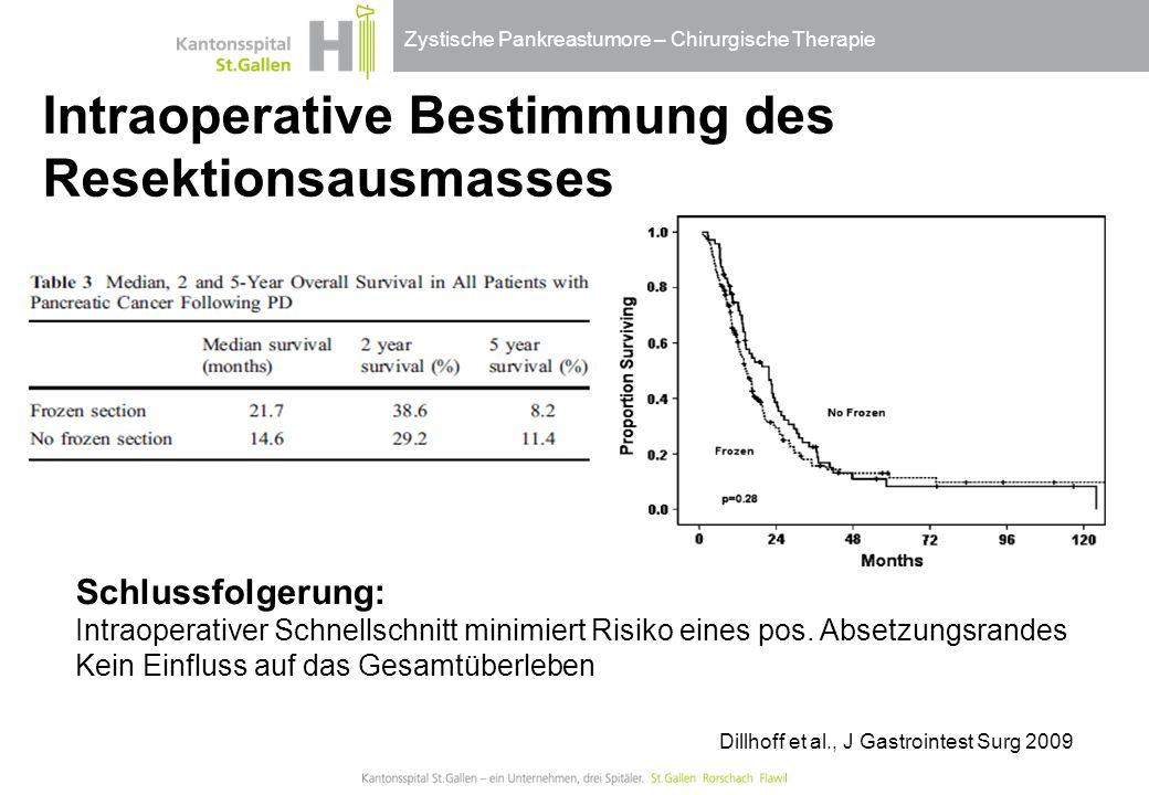 Zystische Pankreastumore – Chirurgische Therapie Intraoperative Bestimmung des Resektionsausmasses Schlussfolgerung: Intraoperativer Schnellschnitt mi