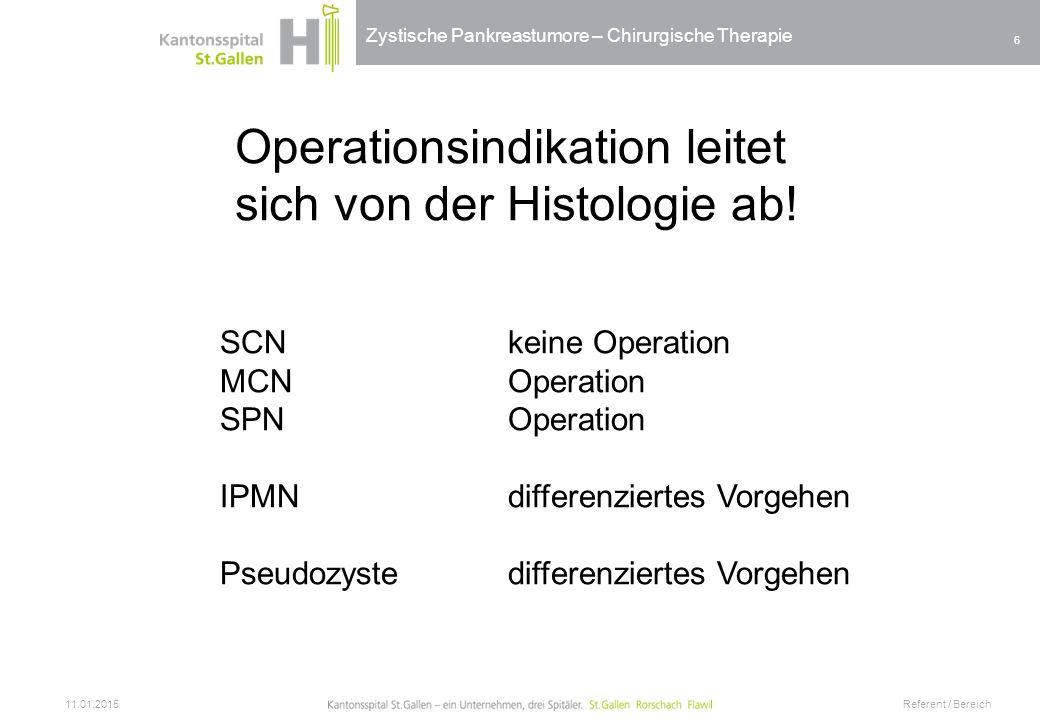 Zystische Pankreastumore – Chirurgische Therapie 11.01.2015 Referent / Bereich 6 Operationsindikation leitet sich von der Histologie ab! SCNkeine Oper