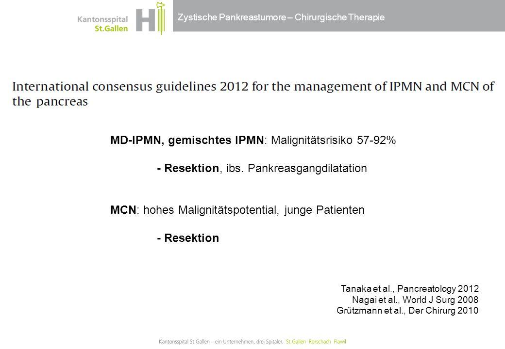 Zystische Pankreastumore – Chirurgische Therapie MD-IPMN, gemischtes IPMN: Malignitätsrisiko 57-92% - Resektion, ibs. Pankreasgangdilatation MCN: hohe