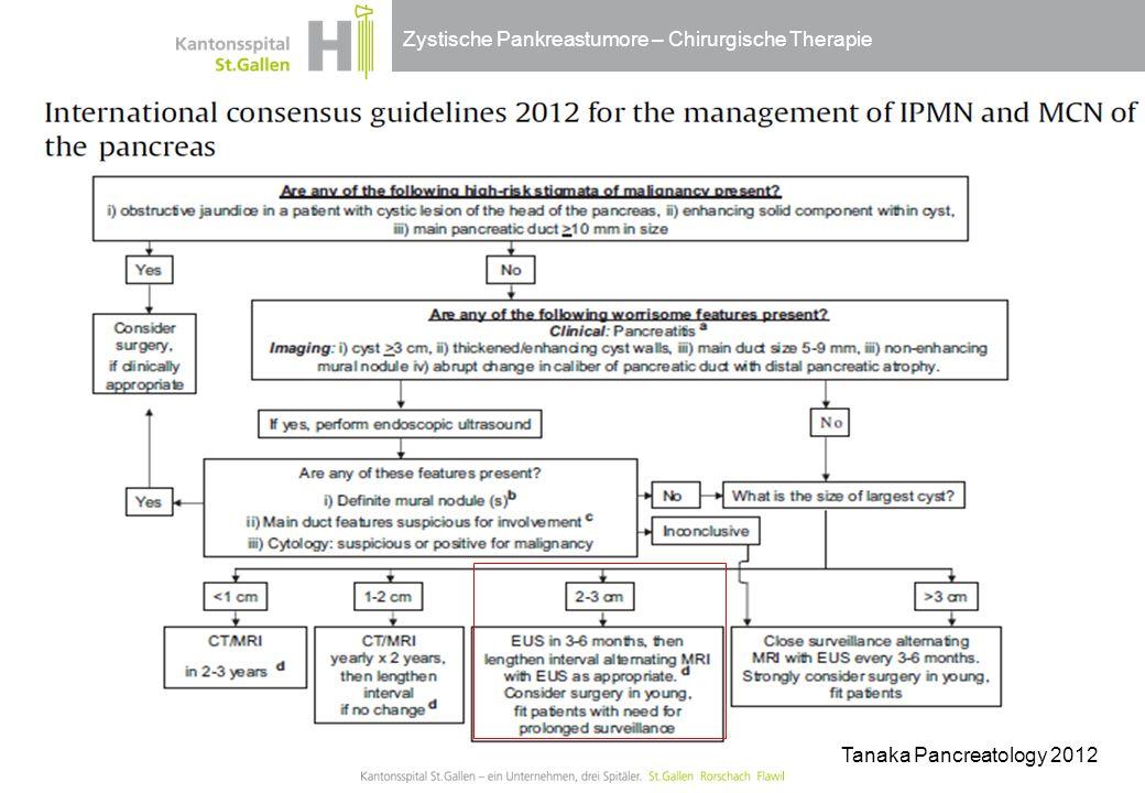 Zystische Pankreastumore – Chirurgische Therapie Tanaka Pancreatology 2012