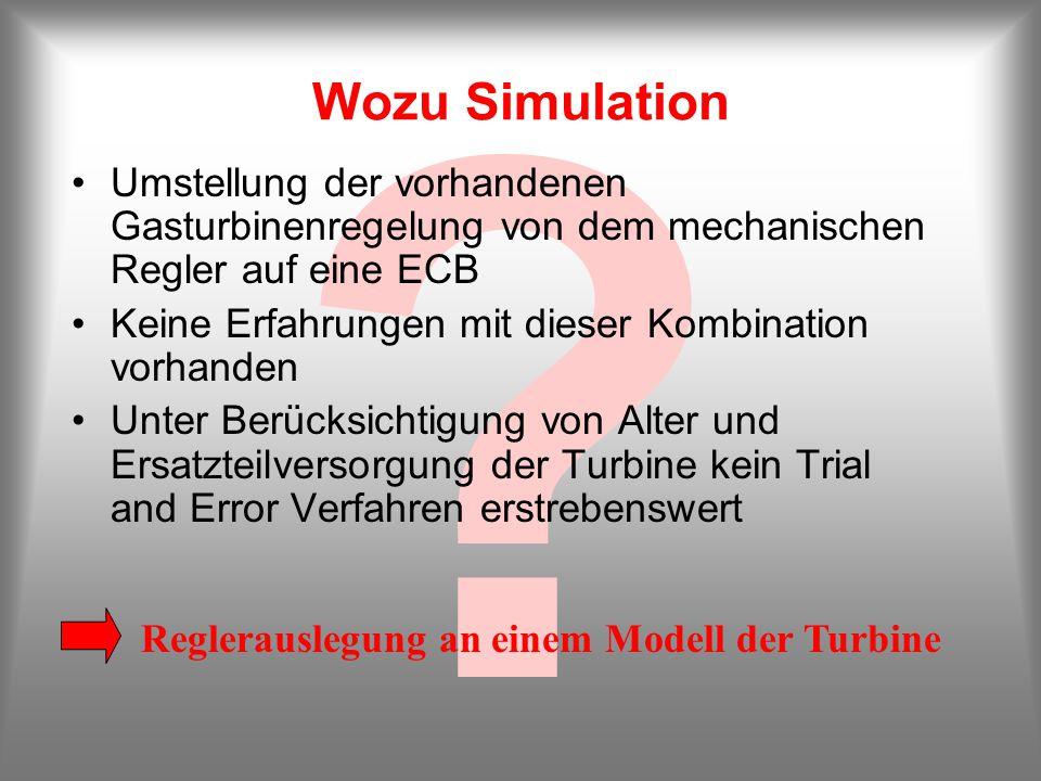? Wozu Simulation Umstellung der vorhandenen Gasturbinenregelung von dem mechanischen Regler auf eine ECB Keine Erfahrungen mit dieser Kombination vor