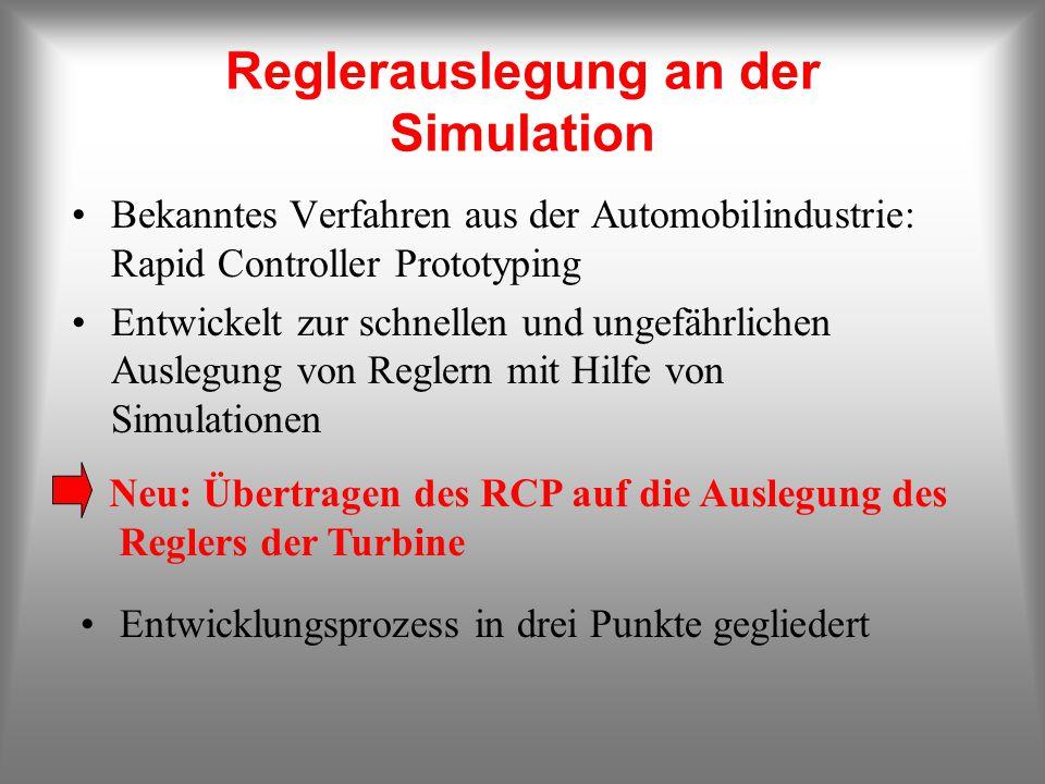 Reglerauslegung an der Simulation Bekanntes Verfahren aus der Automobilindustrie: Rapid Controller Prototyping Entwickelt zur schnellen und ungefährlichen Auslegung von Reglern mit Hilfe von Simulationen Neu: Übertragen des RCP auf die Auslegung des Reglers der Turbine Entwicklungsprozess in drei Punkte gegliedert