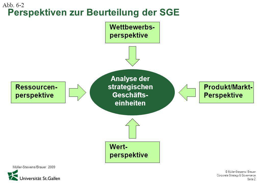 © Müller-Stewens / Brauer Corporate Strategy & Governance Seite 2 Perspektiven zur Beurteilung der SGE Abb.