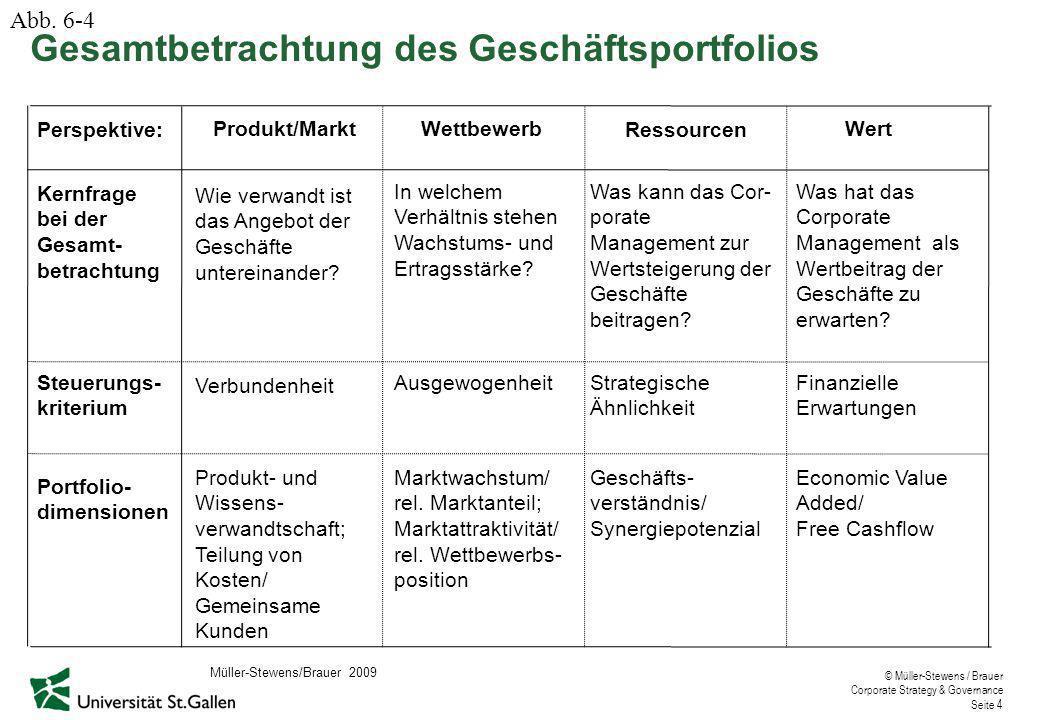 © Müller-Stewens / Brauer Corporate Strategy & Governance Seite 4 Gesamtbetrachtung des Geschäftsportfolios Perspektive: Kernfrage bei der Gesamt- betrachtung Produkt/MarktWettbewerb Ressourcen Wert In welchem Verhältnis stehen Wachstums- und Ertragsstärke.