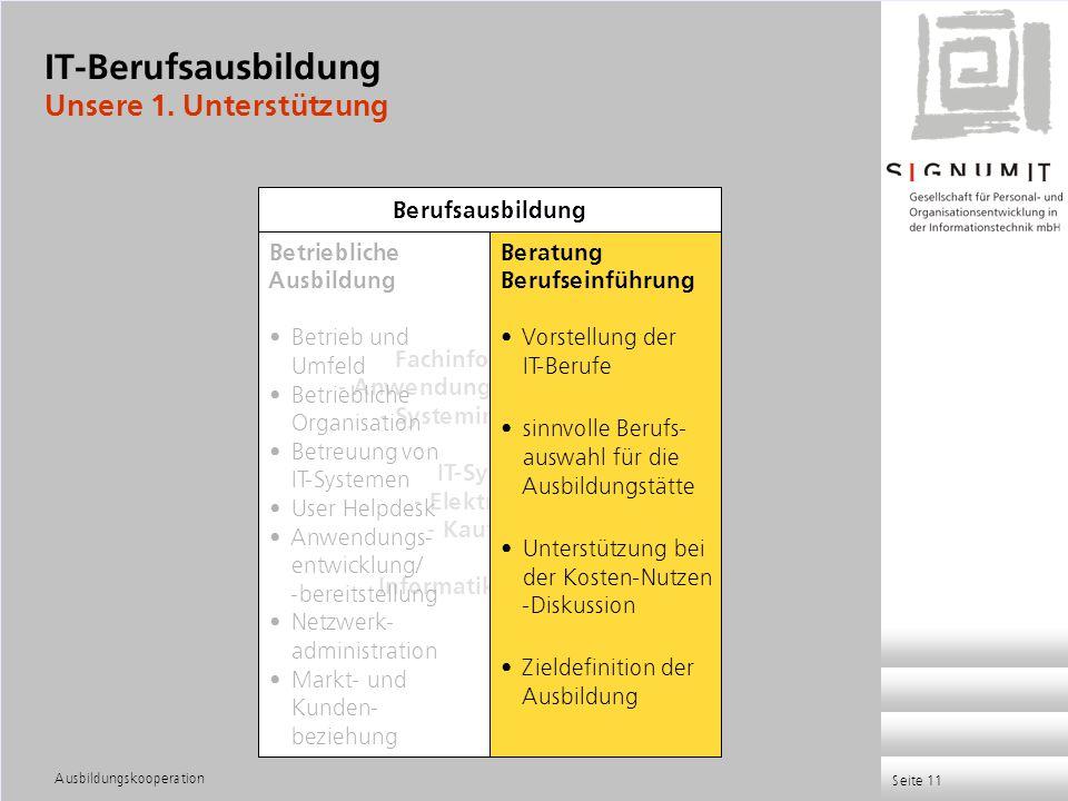 Ausbildungskooperation Seite 11 Fachinformatiker - Anwendungsentwicklung - Systemintegration IT-System - Elektroniker - Kaufleute Informatikkaufleute