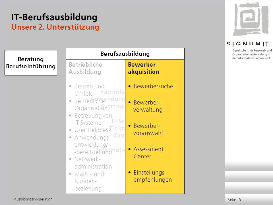 Ausbildungskooperation Seite 13 Fachinformatiker - Anwendungsentwicklung - Systemintegration IT-System - Elektroniker - Kaufleute Informatikkaufleute