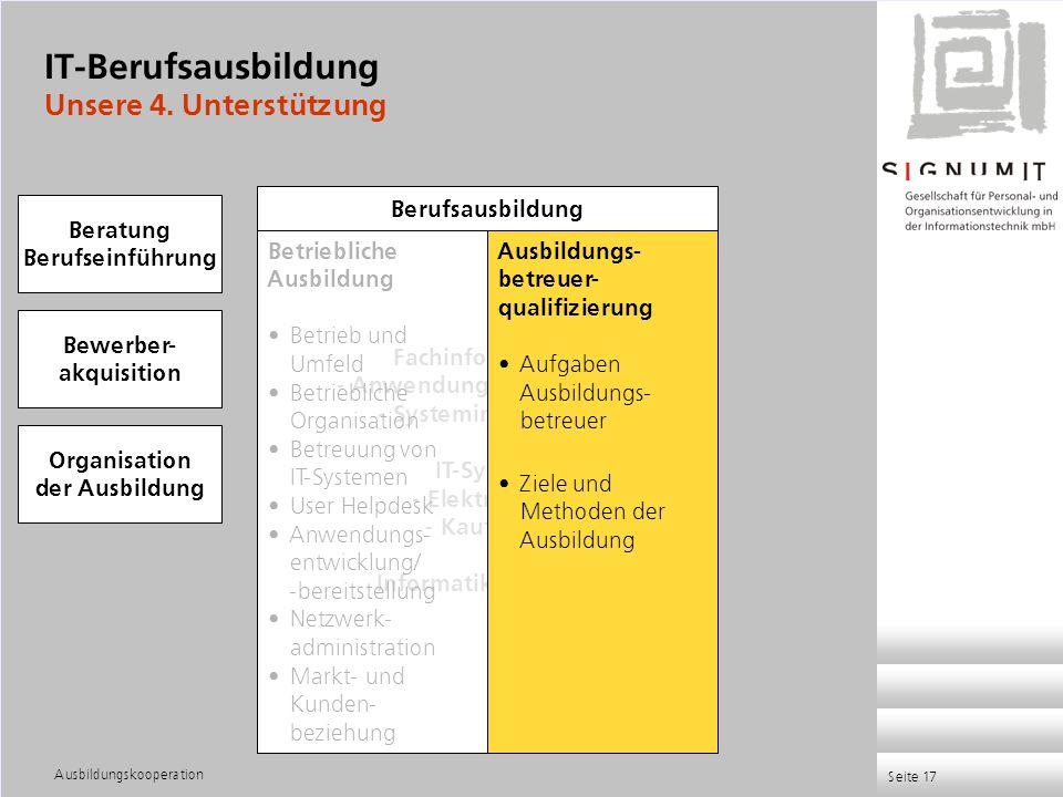 Ausbildungskooperation Seite 17 Fachinformatiker - Anwendungsentwicklung - Systemintegration IT-System - Elektroniker - Kaufleute Informatikkaufleute