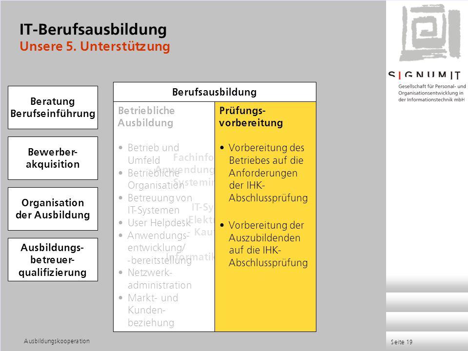 Ausbildungskooperation Seite 19 Fachinformatiker - Anwendungsentwicklung - Systemintegration IT-System - Elektroniker - Kaufleute Informatikkaufleute