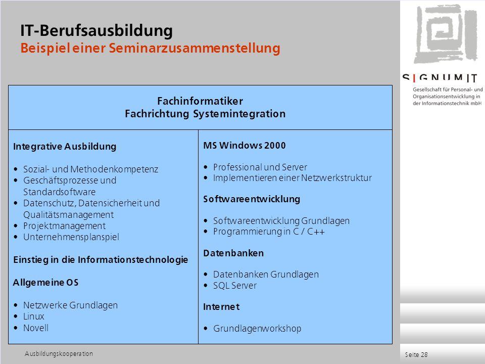 Ausbildungskooperation Seite 28 Integrative Ausbildung Sozial- und Methodenkompetenz Geschäftsprozesse und Standardsoftware Datenschutz, Datensicherhe