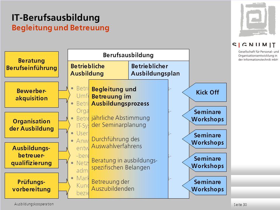 Ausbildungskooperation Seite 30 Fachinformatiker - Anwendungsentwicklung - Systemintegration IT-System - Elektroniker - Kaufleute Informatikkaufleute