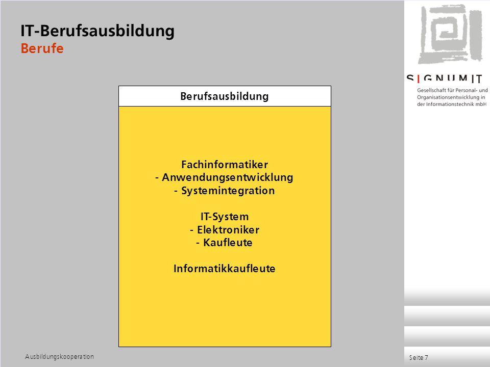 Ausbildungskooperation Seite 7 Fachinformatiker - Anwendungsentwicklung - Systemintegration IT-System - Elektroniker - Kaufleute Informatikkaufleute B