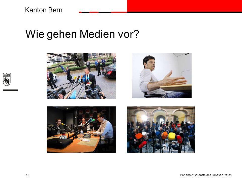 Kanton Bern Wie gehen Medien vor? Parlamentsdienste des Grossen Rates10