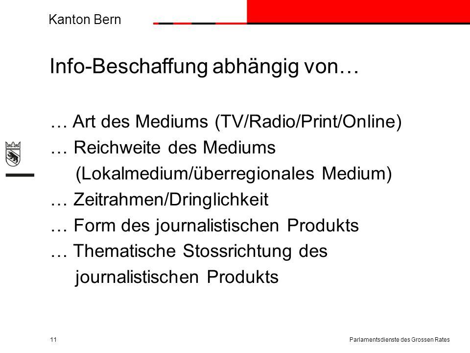 Kanton Bern Info-Beschaffung abhängig von… … Art des Mediums (TV/Radio/Print/Online) … Reichweite des Mediums (Lokalmedium/überregionales Medium) … Ze