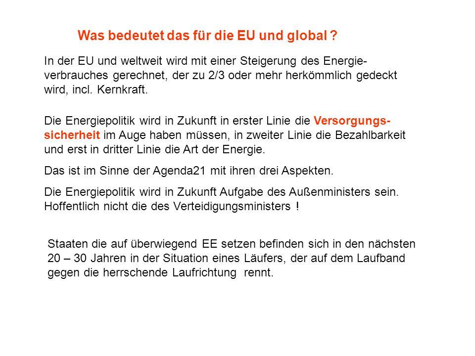 Was bedeutet das für die EU und global ? In der EU und weltweit wird mit einer Steigerung des Energie- verbrauches gerechnet, der zu 2/3 oder mehr her