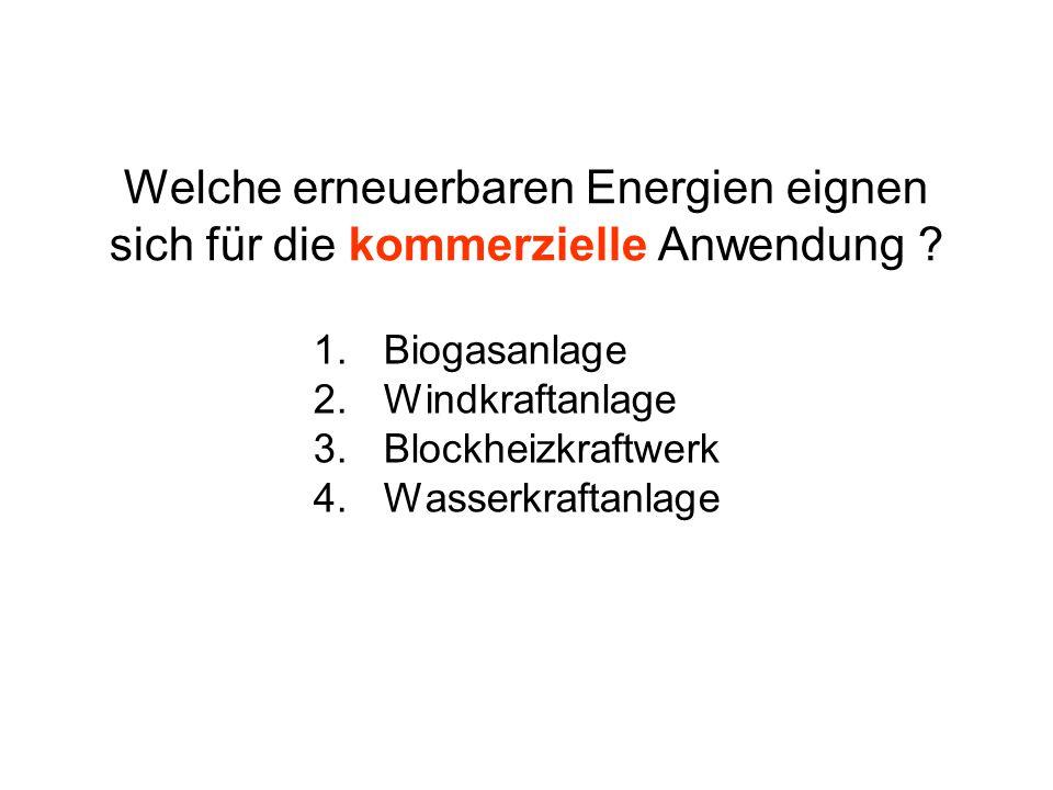 Welche erneuerbaren Energien eignen sich für die kommerzielle Anwendung ? 1.Biogasanlage 2.Windkraftanlage 3.Blockheizkraftwerk 4.Wasserkraftanlage