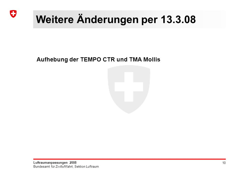 10 Luftraumanpassungen 2008 Bundesamt für Zivilluftfahrt, Sektion Luftraum Weitere Änderungen per 13.3.08 Aufhebung der TEMPO CTR und TMA Mollis