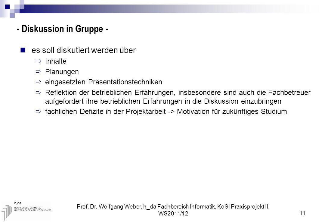 Prof. Dr. Wolfgang Weber, h_da Fachbereich Informatik, KoSI Praxisprojekt II, WS2011/12 11 - Diskussion in Gruppe - es soll diskutiert werden über  I