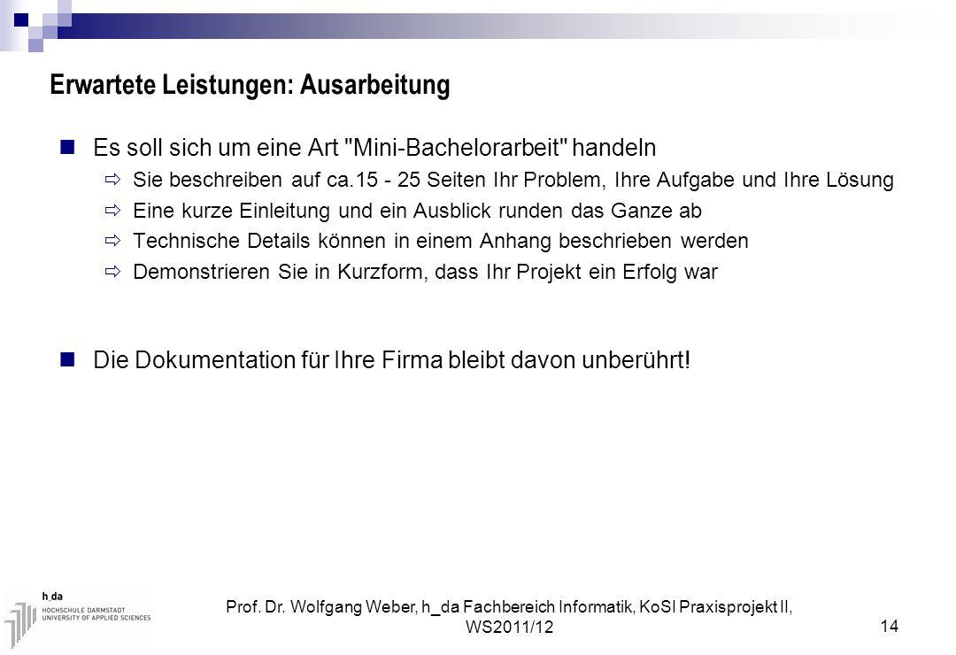 Prof. Dr. Wolfgang Weber, h_da Fachbereich Informatik, KoSI Praxisprojekt II, WS2011/12 14 Erwartete Leistungen: Ausarbeitung Es soll sich um eine Art