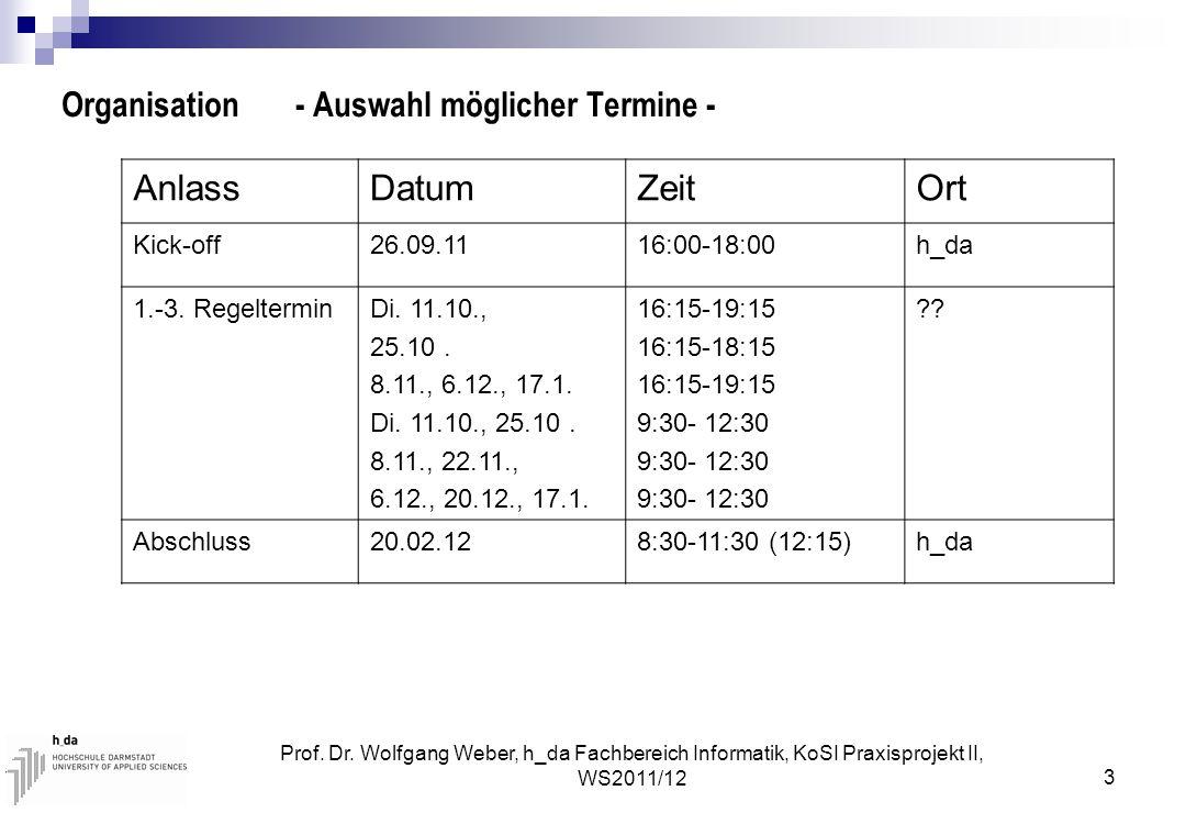 Prof. Dr. Wolfgang Weber, h_da Fachbereich Informatik, KoSI Praxisprojekt II, WS2011/12 3 Organisation - Auswahl möglicher Termine - AnlassDatumZeitOr
