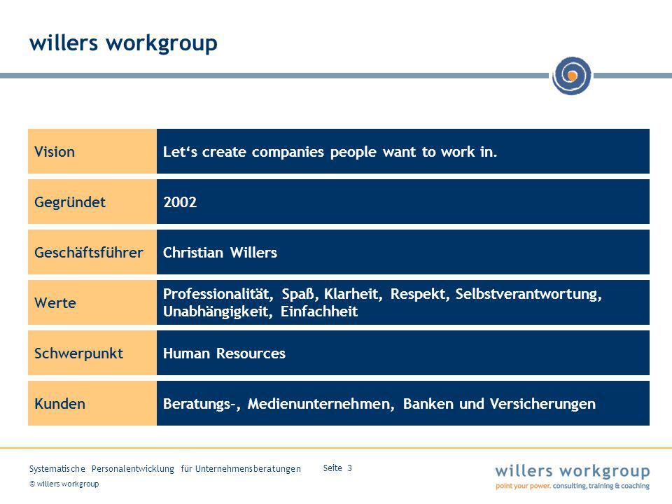 © willers workgroup Systematische Personalentwicklung für Unternehmensberatungen Seite 3 willers workgroup Vision Gegründet Geschäftsführer Werte Schw