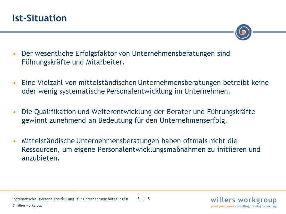 © willers workgroup Systematische Personalentwicklung für Unternehmensberatungen Seite 5 Ist-Situation Der wesentliche Erfolgsfaktor von Unternehmensb