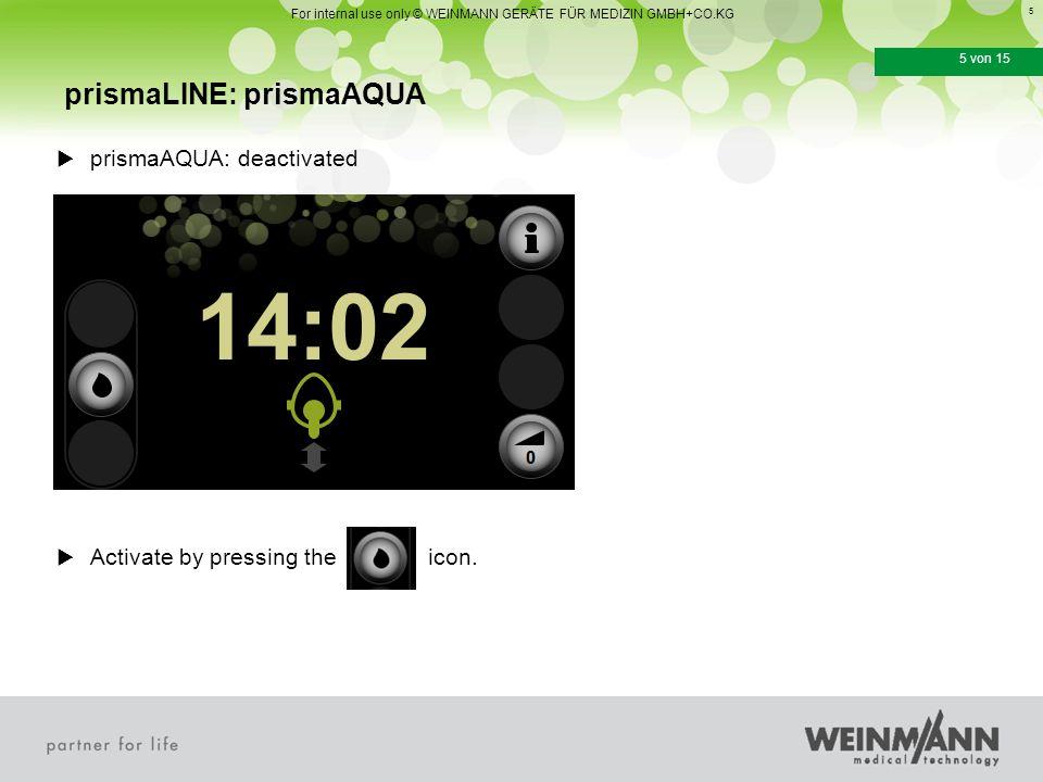 6 6 von 15  prismaAQUA: Handling Assembling opening prismaLINE: prismaAQUA For internal use only © WEINMANN GERÄTE FÜR MEDIZIN GMBH+CO.KG