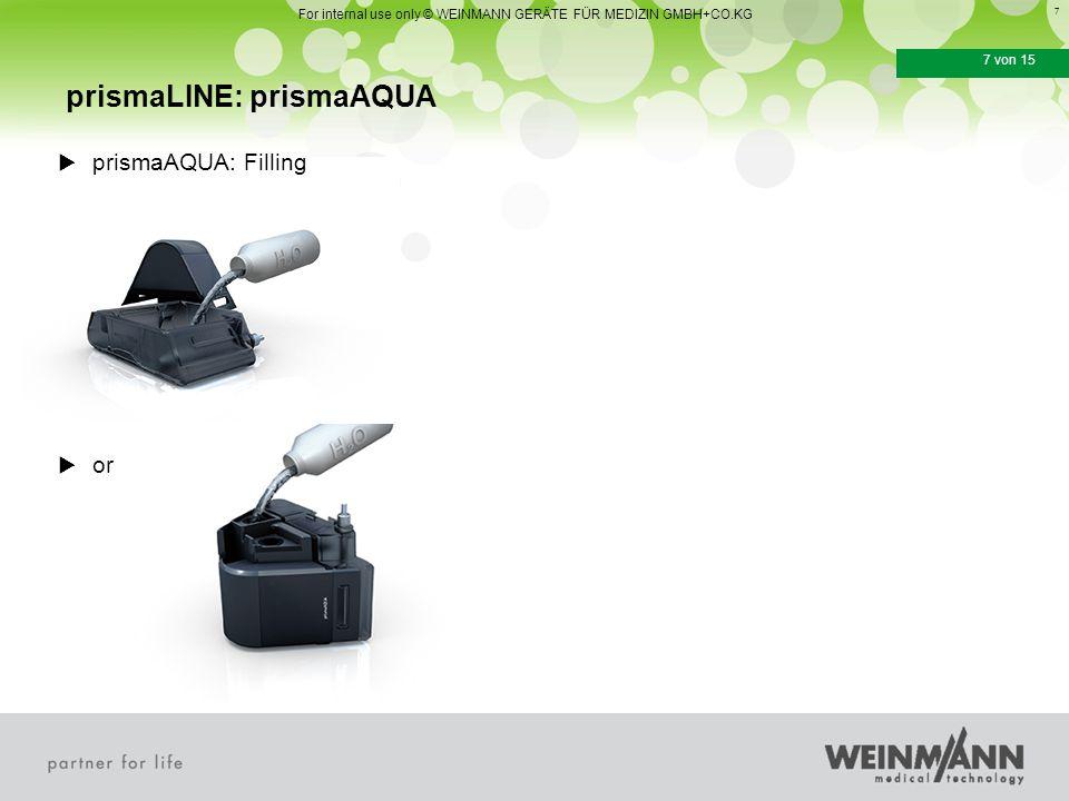 7 7 von 15  prismaAQUA: Filling  or prismaLINE: prismaAQUA For internal use only © WEINMANN GERÄTE FÜR MEDIZIN GMBH+CO.KG