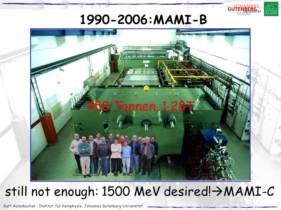 Kurt Aulenbacher, Institut für Kernphysik, Johannes Gutenberg-Universität 1990-2006:MAMI-B 450 Tonnen, 1.28T still not enough: 1500 MeV desired!  MAM