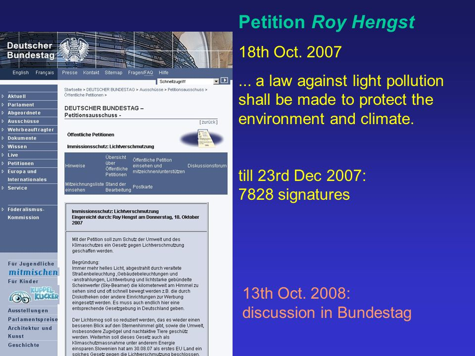 Petition Roy Hengst 18th Oct. 2007...