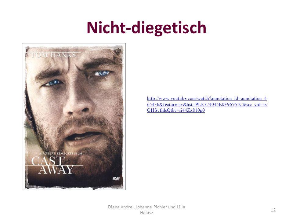 Nicht-diegetisch Diana Andrei, Johanna Pichler und Lilla Halász 12 http://www.youtube.com/watch?annotation_id=annotation_4 65436&feature=iv&list=PLE374045E0F96561C&src_vid=tv GHSvfnlsQ&v=ri44Zx810p0