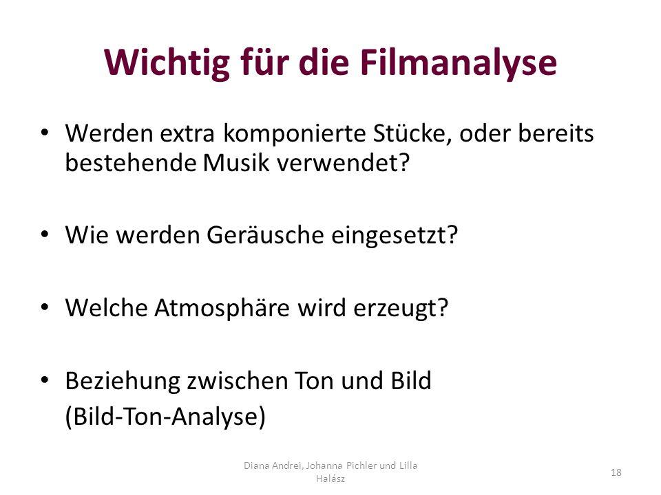 Wichtig für die Filmanalyse Werden extra komponierte Stücke, oder bereits bestehende Musik verwendet.