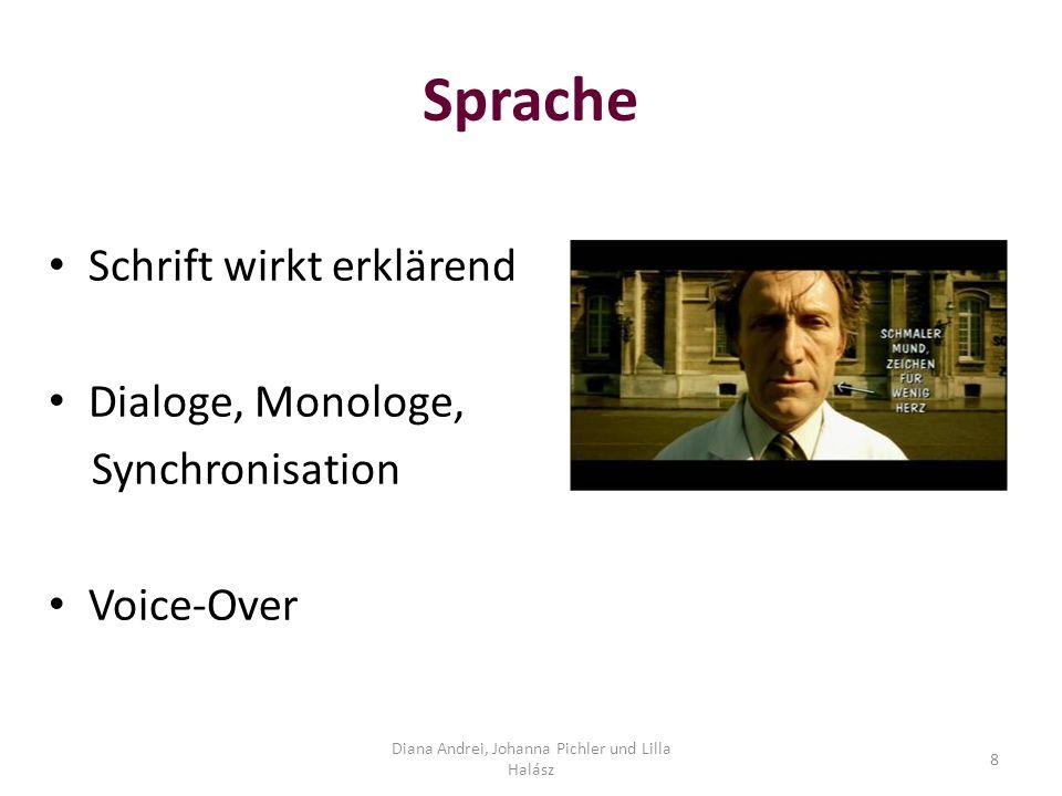 Sprache Schrift wirkt erklärend Dialoge, Monologe, Synchronisation Voice-Over Diana Andrei, Johanna Pichler und Lilla Halász 8