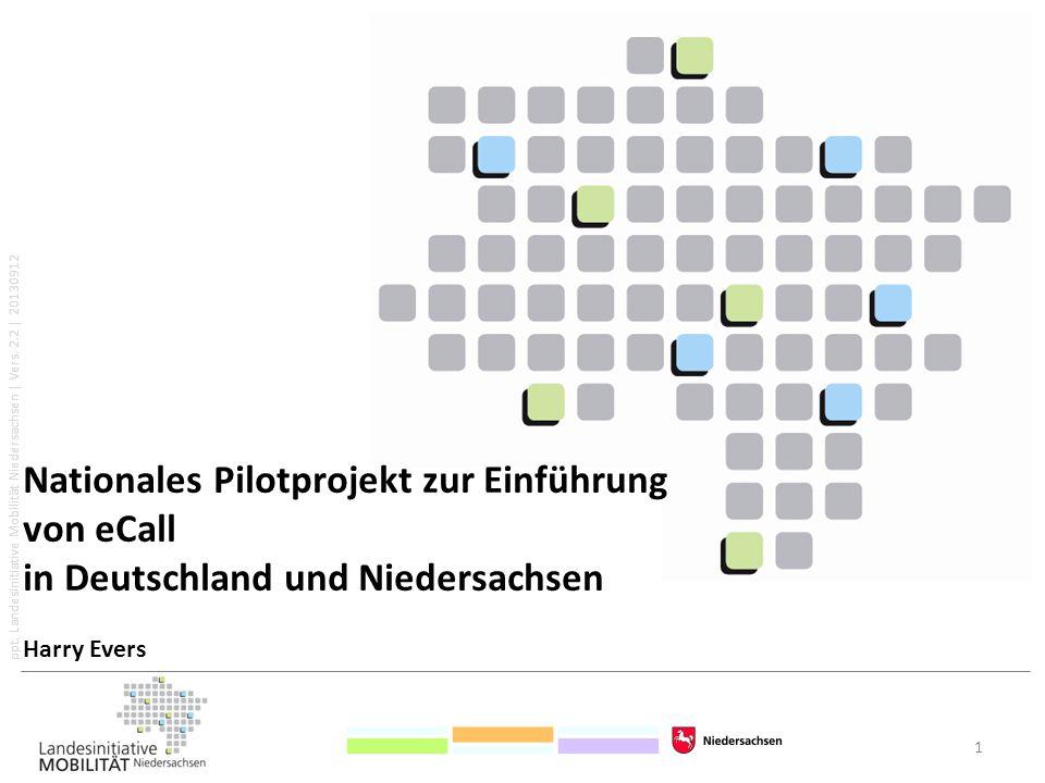 ppt. Landesinitiative Mobilität Niedersachsen   Vers. 2.2   20130912 1 Nationales Pilotprojekt zur Einführung von eCall in Deutschland und Niedersachs