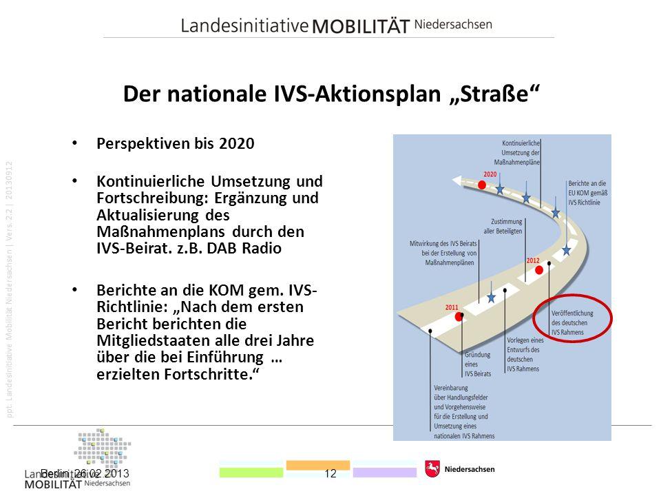 """ppt. Landesinitiative Mobilität Niedersachsen   Vers. 2.2   20130912 Der nationale IVS-Aktionsplan """"Straße"""" Perspektiven bis 2020 Kontinuierliche Umse"""