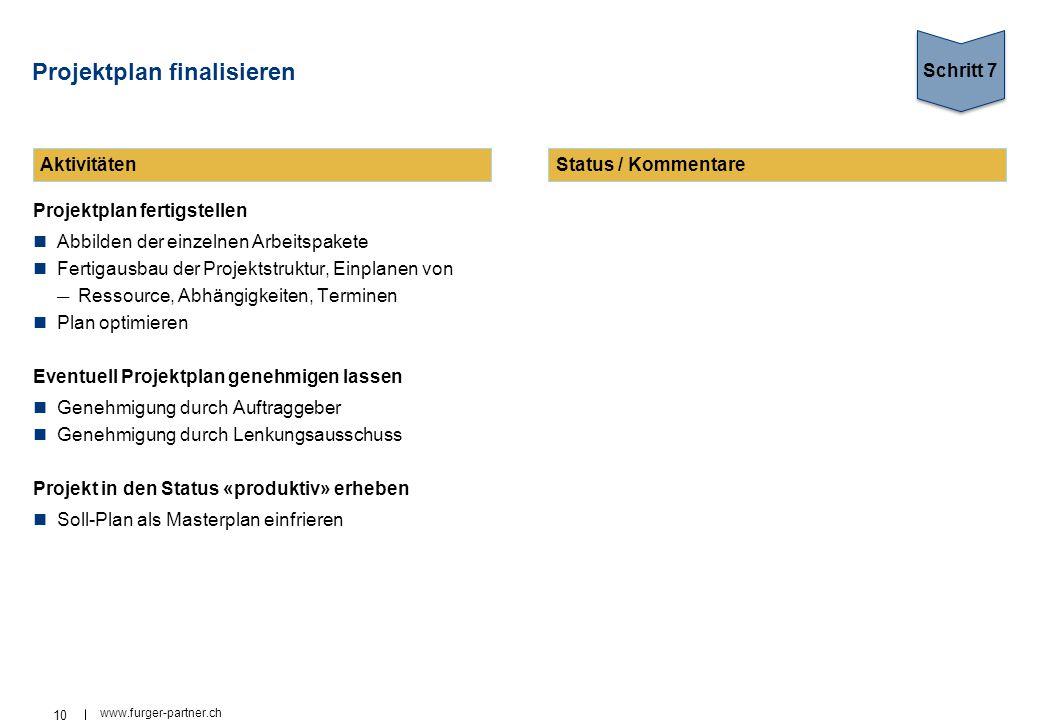 10 www.furger-partner.ch Projektplan finalisieren Projektplan fertigstellen Abbilden der einzelnen Arbeitspakete Fertigausbau der Projektstruktur, Ein