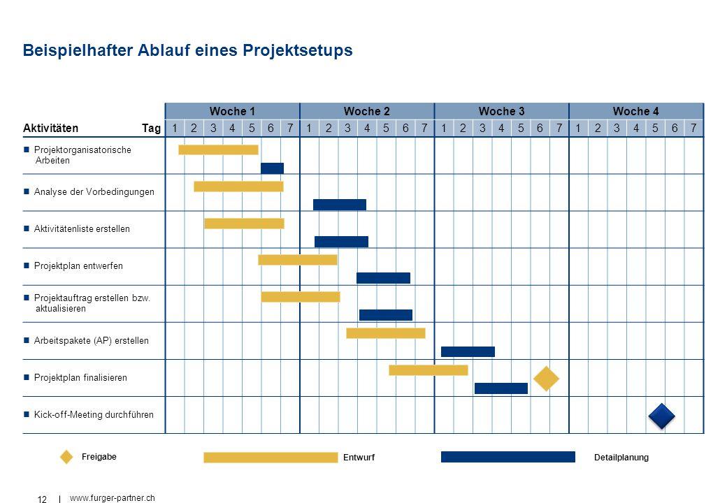 12 www.furger-partner.ch Beispielhafter Ablauf eines Projektsetups Woche 1Woche 2Woche 3Woche 4 AktivitätenTag1234567123456712345671234567 Projektorga
