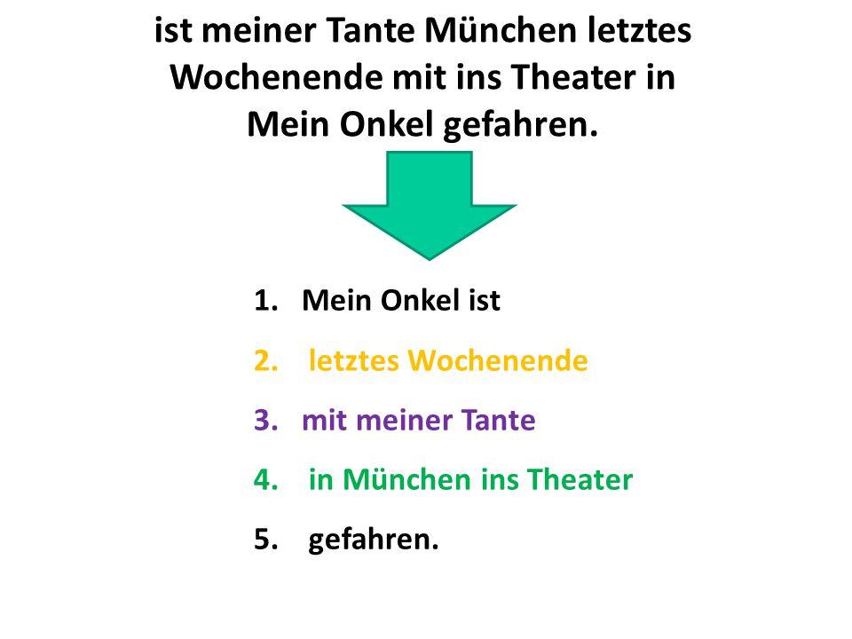 1.Mein Onkel ist 2. letztes Wochenende 3.mit meiner Tante 4. in München ins Theater 5. gefahren. ist meiner Tante München letztes Wochenende mit ins T