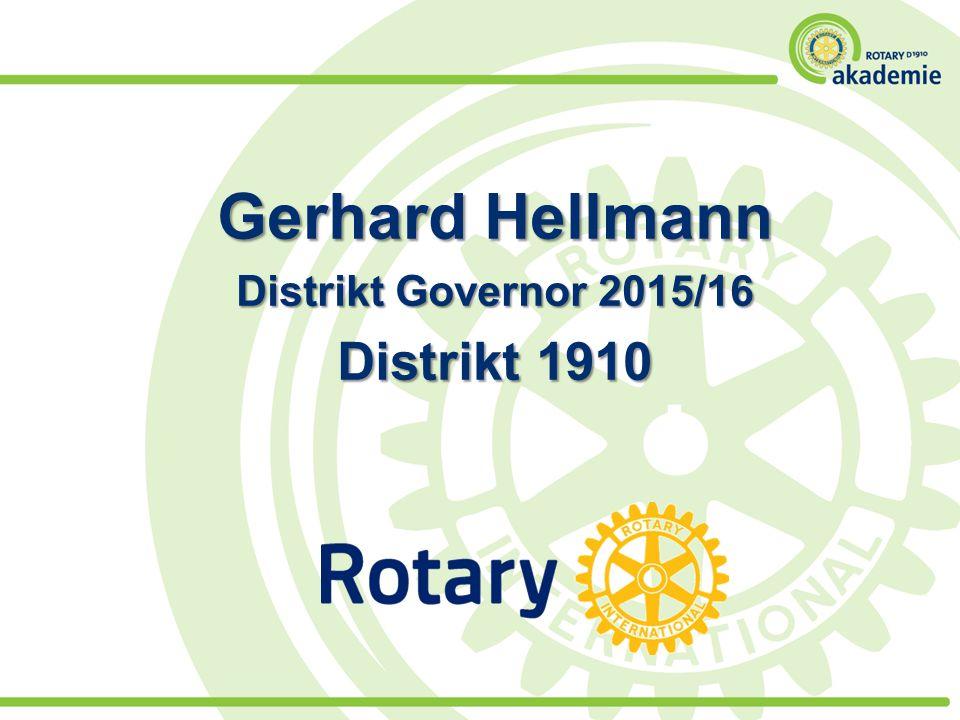 Gerhard Hellmann Distrikt Governor 2015/16 Distrikt 1910