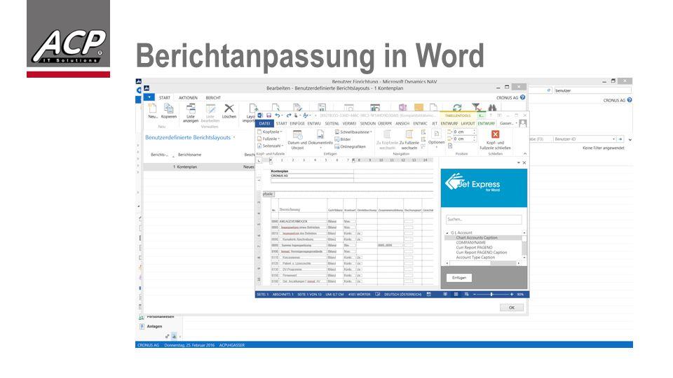 Berichtanpassung in Word