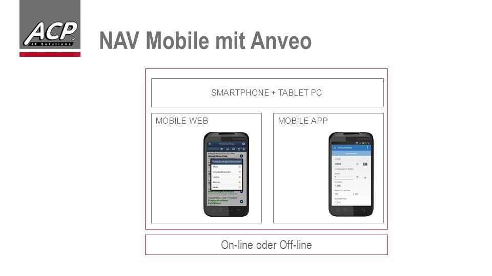 NAV Mobile mit Anveo On-line oder Off-line MOBILE WEBMOBILE APP SMARTPHONE + TABLET PC