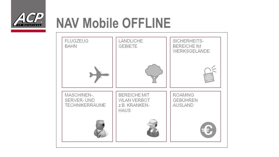 NAV Mobile OFFLINE FLUGZEUG BAHN LÄNDLICHE GEBIETE SICHERHEITS- BEREICHE IM WERKSGELÄNDE MASCHINEN-, SERVER- UND TECHNIKERRÄUME BEREICHE MIT WLAN VERBOT z.B.