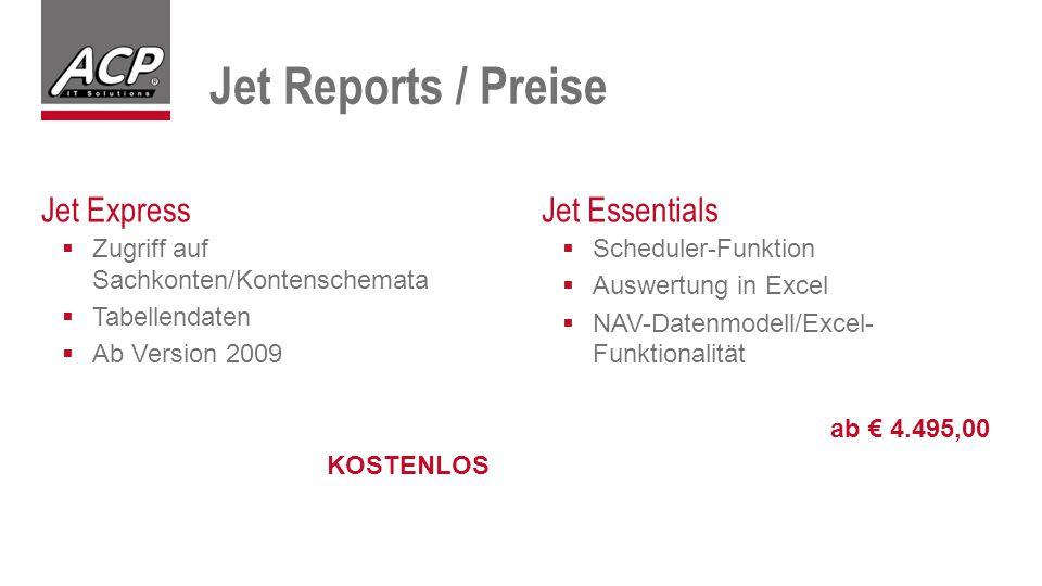  Scheduler-Funktion  Auswertung in Excel  NAV-Datenmodell/Excel- Funktionalität ab € 4.495,00  Zugriff auf Sachkonten/Kontenschemata  Tabellendaten  Ab Version 2009 KOSTENLOS Jet ExpressJet Essentials Jet Reports / Preise