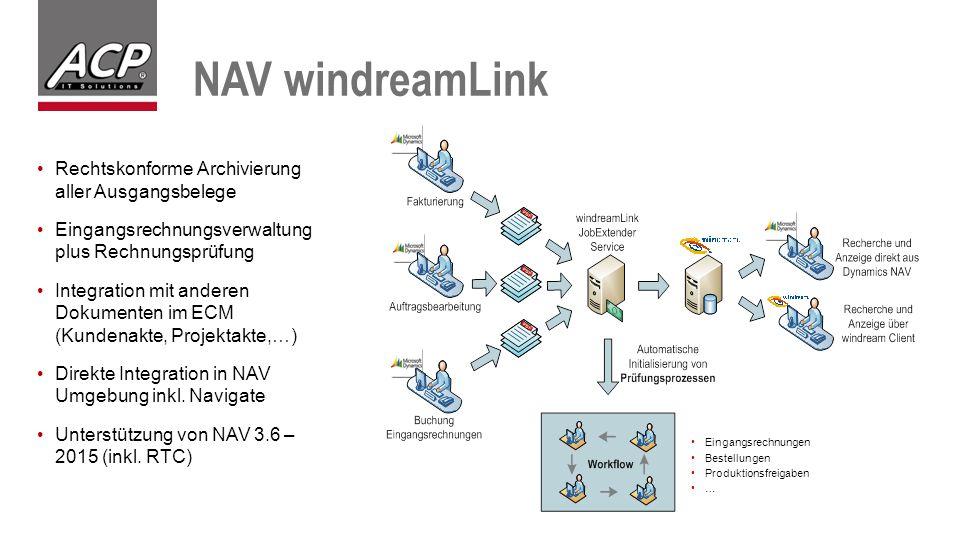 NAV windreamLink Rechtskonforme Archivierung aller Ausgangsbelege Eingangsrechnungsverwaltung plus Rechnungsprüfung Integration mit anderen Dokumenten im ECM (Kundenakte, Projektakte,…) Direkte Integration in NAV Umgebung inkl.