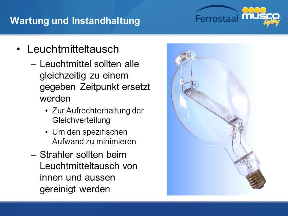 Wartung und Instandhaltung Leuchtmitteltausch –Leuchtmittel sollten alle gleichzeitig zu einem gegeben Zeitpunkt ersetzt werden Zur Aufrechterhaltung
