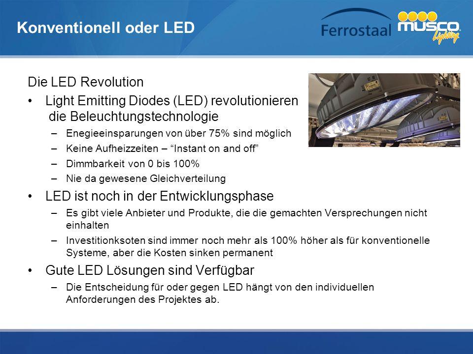 Konventionell oder LED Die LED Revolution Light Emitting Diodes (LED) revolutionieren die Beleuchtungstechnologie –Enegieeinsparungen von über 75% sin