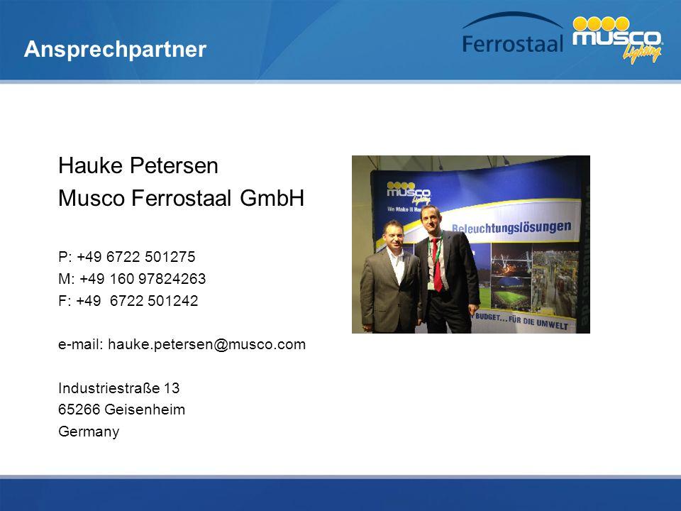 Ansprechpartner Hauke Petersen Musco Ferrostaal GmbH P: +49 6722 501275 M: +49 160 97824263 F: +49 6722 501242 e-mail: hauke.petersen@musco.com Indust